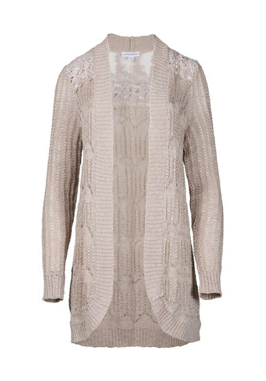 Women's Lace Insert Pointelle Cardigan, NATURAL, hi-res