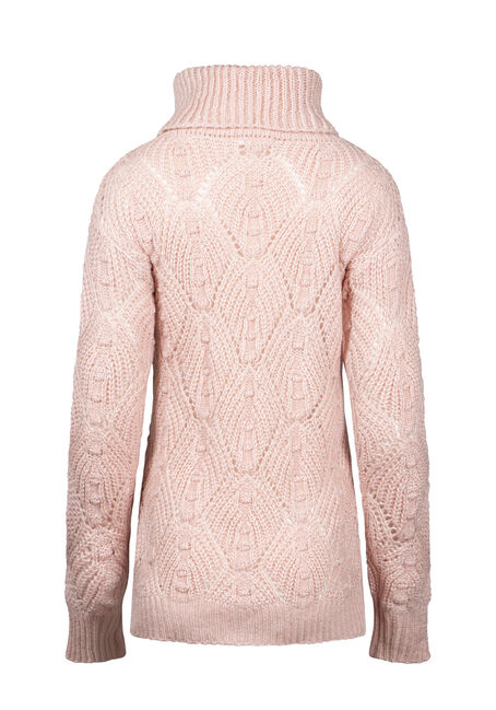 Women's Pointelle Turtleneck Sweater, PINK/IVORY, hi-res
