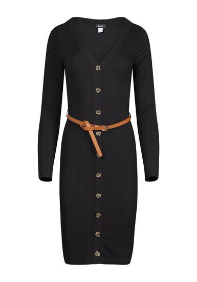 Women's Ribbed Midi Bodycon Dress, BLACK, hi-res