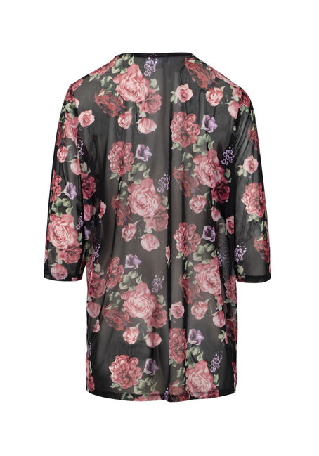 Women's Floral Mesh Kimono, MULTI, hi-res