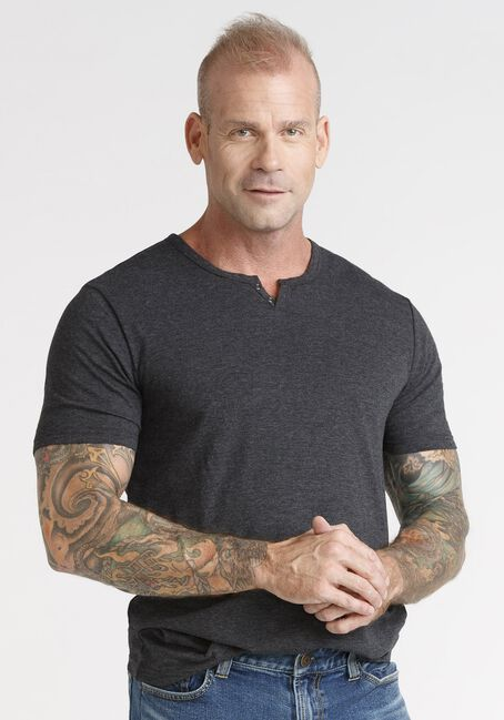 Men's Everyday Notch Neck Tee, CHARCOAL, hi-res