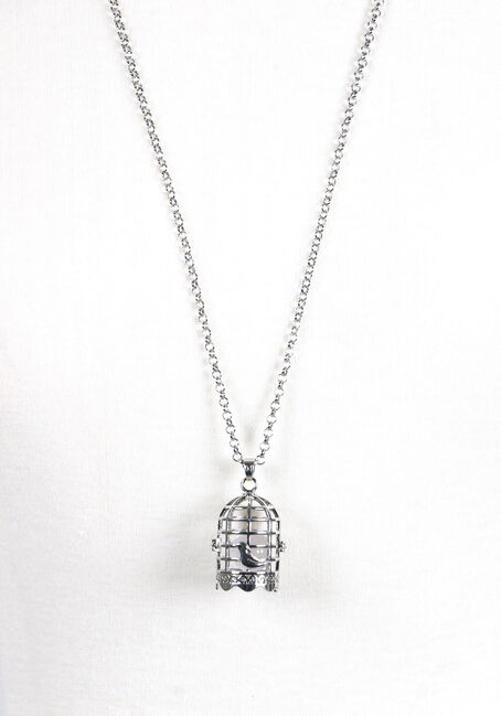 Ladies' Birdcage Necklace, RHODIUM, hi-res
