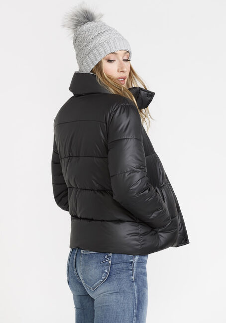 Women's Puffer Jacket, BLACK, hi-res