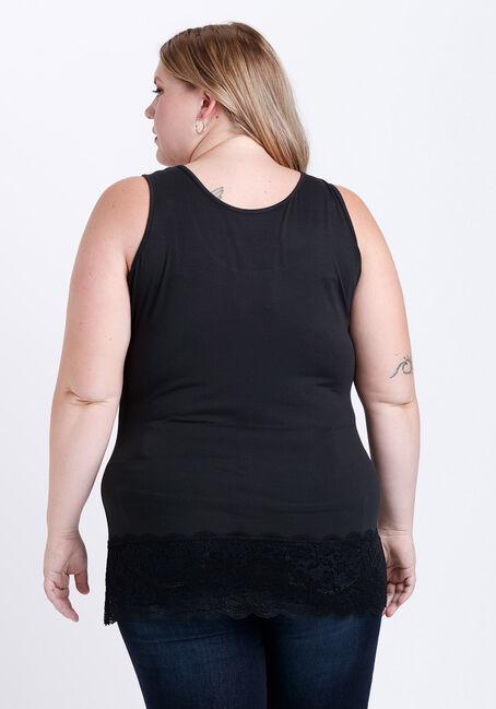 Women's Lace Trim Tunic Tank, BLACK, hi-res