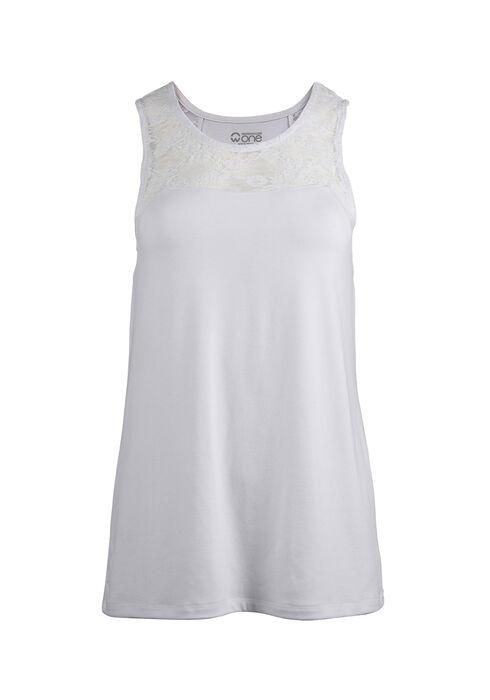 Ladies' Lace Trim Tank, WHITE, hi-res
