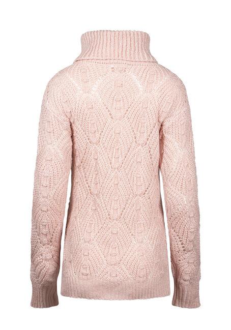 Women's Pointelle Turtleneck Sweater, PINK/IVORY, hi-res
