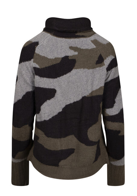 Women's Camo Mock Neck Pullover, GREEN, hi-res