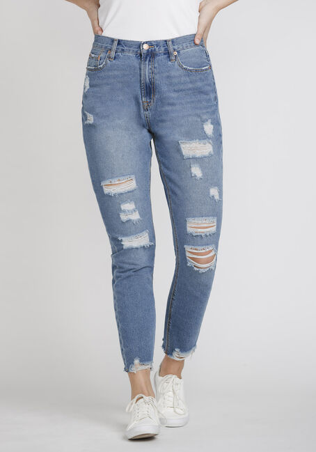 Women's High Rise Distressed Mom Jeans