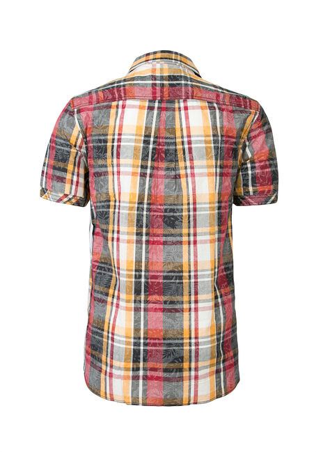 Men's Tropical Plaid Shirt, RED, hi-res