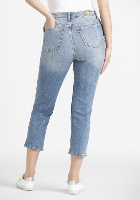 Women's High Rise Crop Straight Jeans, MEDIUM WASH, hi-res