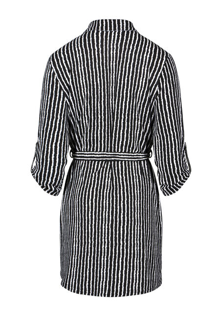 Women's Stripe Shirt Dress, BLK/WHT, hi-res