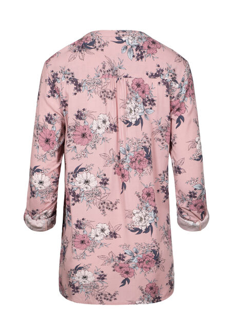 Women's Floral Roll Sleeve Tunic Shirt, PINK, hi-res