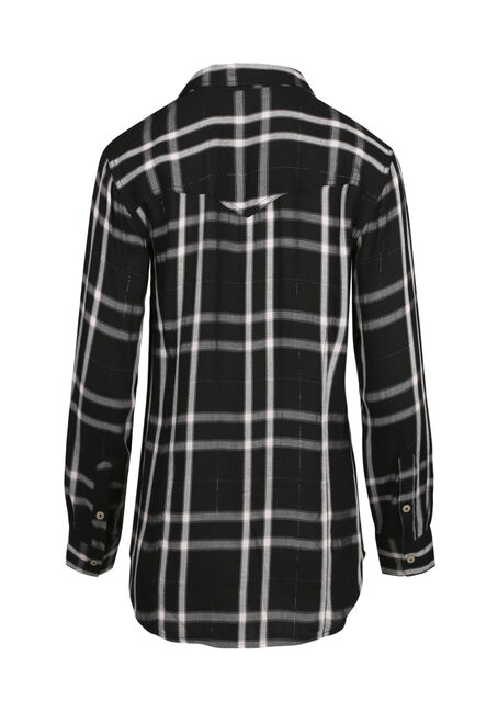 Ladies' Embroidered Plaid Shirt, BLACK, hi-res