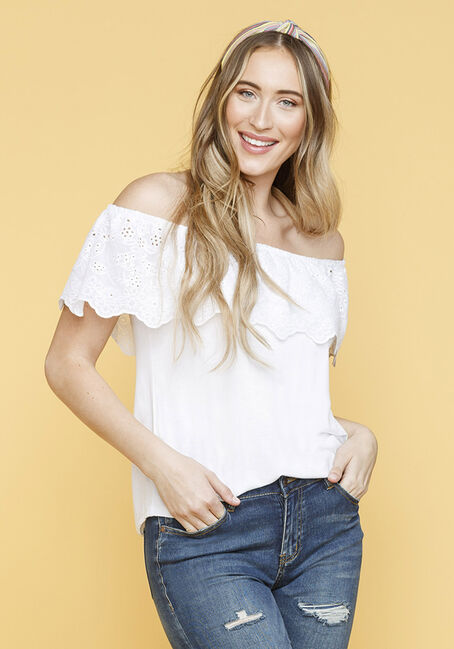 Women's Eyelet Bardot Top, WHITE, hi-res