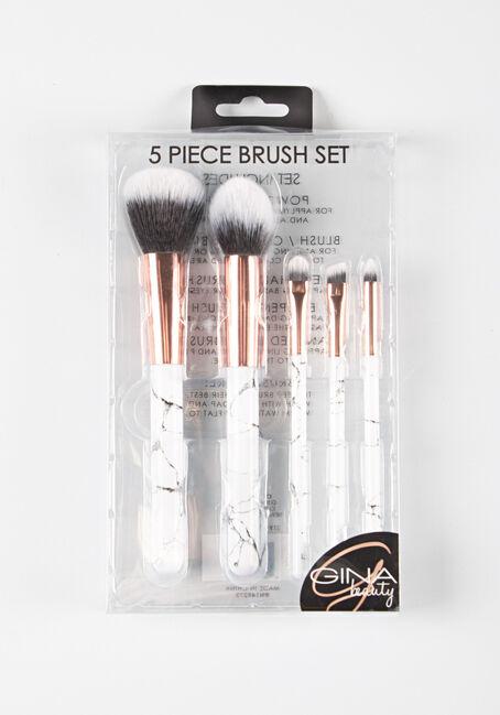Women's 5 Piece Brush Set, WINTER WHITE, hi-res
