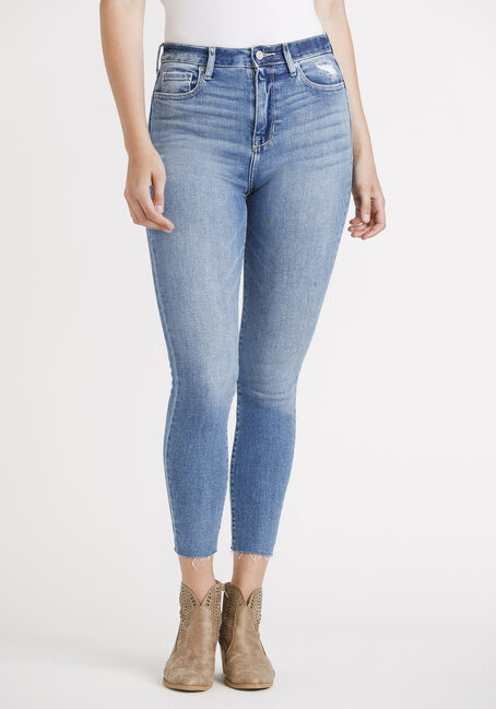 Women's High Rise Destroyed Raw Hem Skinny