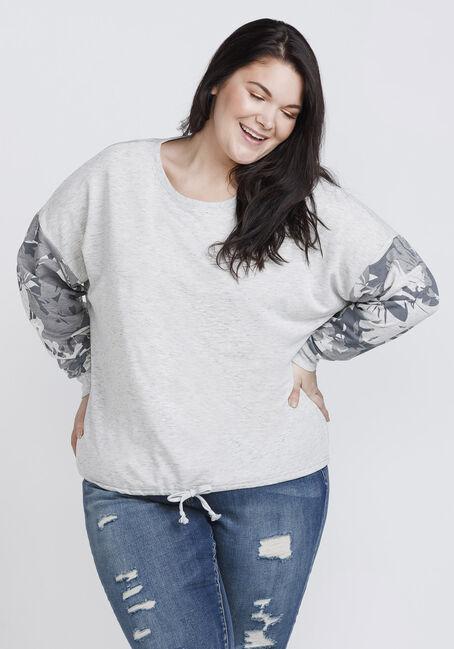 Women's Floral Sleeve Sweatshirt, HEATHER GREY, hi-res