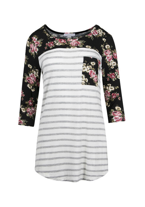 Ladies' Floral Stripe Top, WHITE, hi-res