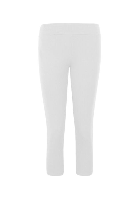 Ladies' Wide Waistband Capri Legging, WHITE, hi-res