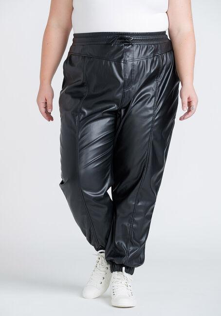 Women's Plus Size High Rise Faux Leather Jogger