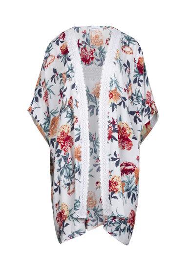Women's Crochet Trim Floral Kimono, WINTER WHITE, hi-res