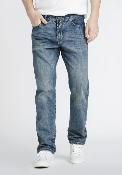 Men's Vintage Wash Relaxed Straight Jeans, MEDIUM WASH, hi-res