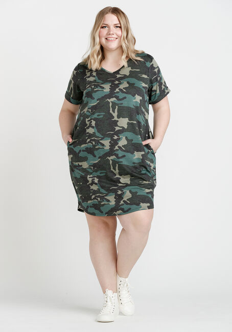Women's Tee Shirt Dress, OLIVE, hi-res