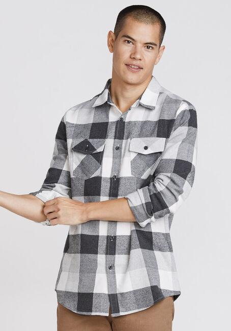 Men's Plaid Flannel Shirt, GREY, hi-res