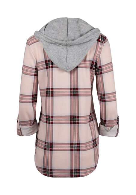 Ladies' Hooded Knit Boyfriend Shirt, Rose Quartz, hi-res