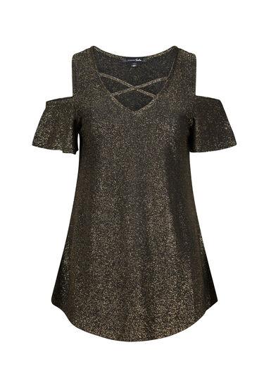 Women's Shimmer Cold Shoulder Top, GOLD, hi-res