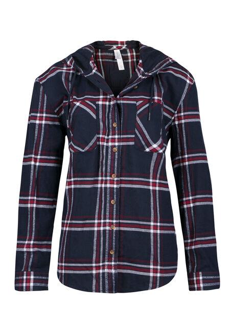 Ladies' Hooded Boyfriend Flannel Shirt
