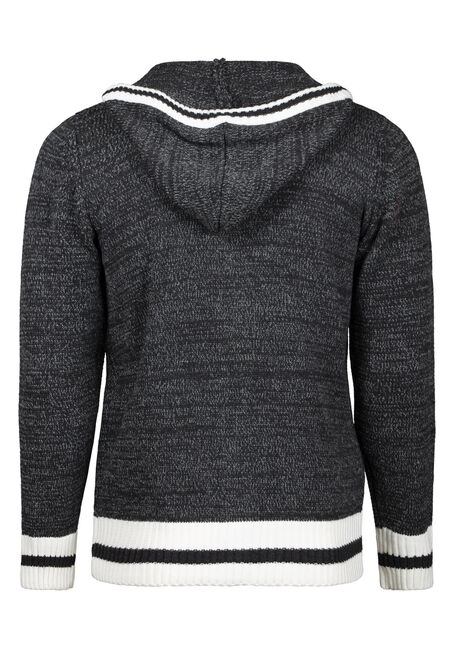 Men's Zip Up Cabin Sweater, CHARCOAL, hi-res