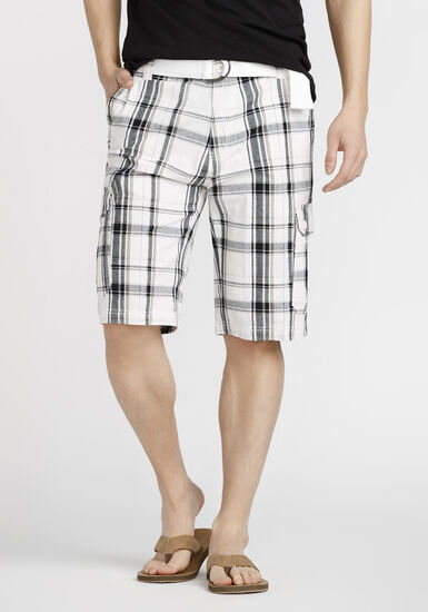 Men's Belted Plaid Cargo Short, WHITE, hi-res