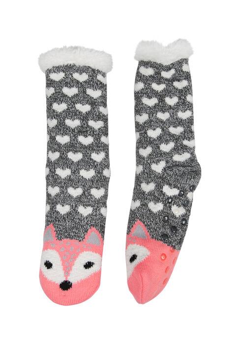 Ladies' Fox Slipper Socks, PLUM, hi-res