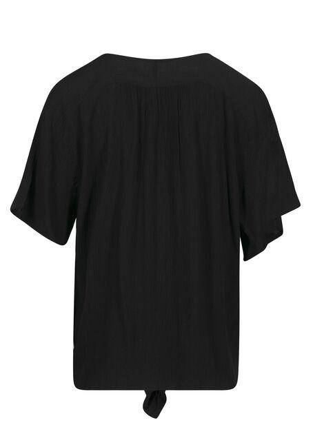 Women's Button Front Tie Front Top, BLACK, hi-res