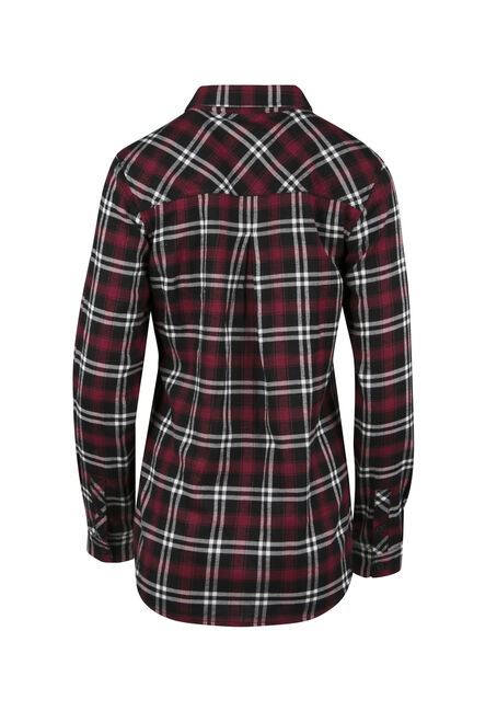 Ladies' Relaxed Fit Flannel Shirt, TRUE RED, hi-res