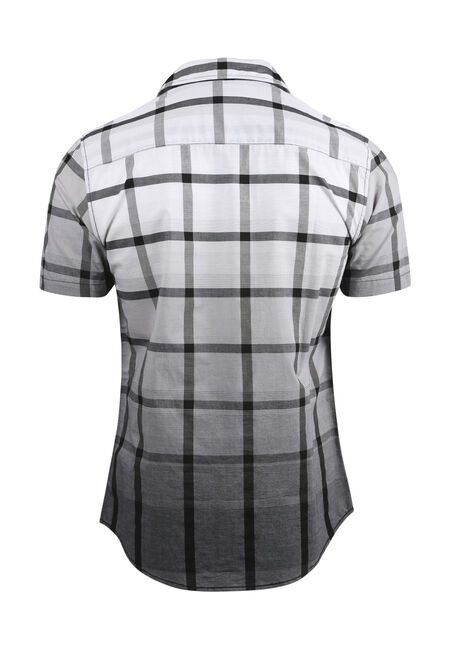 Men's Ombre Plaid Shirt, BLK/WHT, hi-res