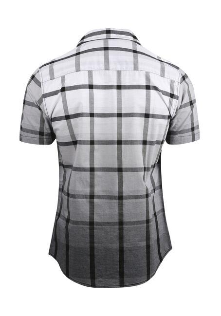 Men's Ombre Plaid Shirt, BLK/WHT, hi-res
