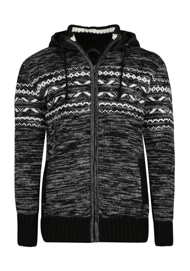 Men's Nordic Sweater Jacket, CHARCOAL, hi-res