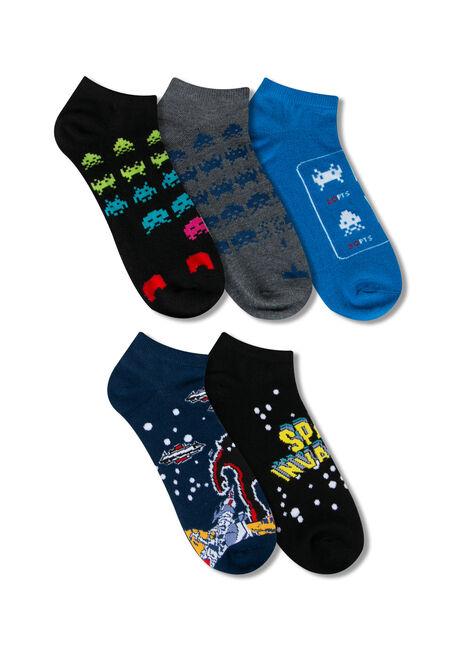 Men's 5 Pair Space Invaders Socks