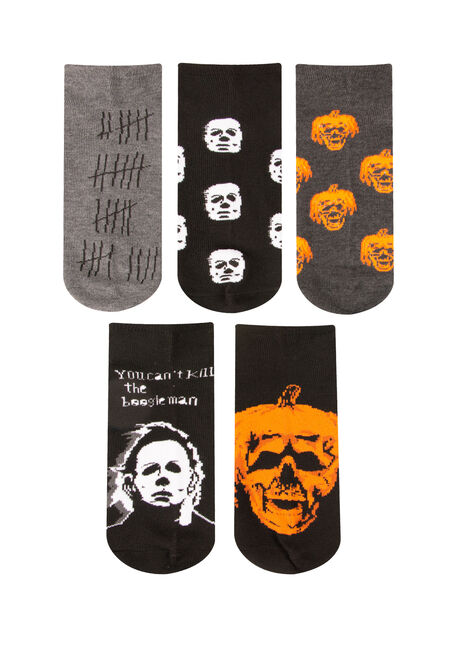 Men's 5 Pair Halloween Socks, ORANGE, hi-res