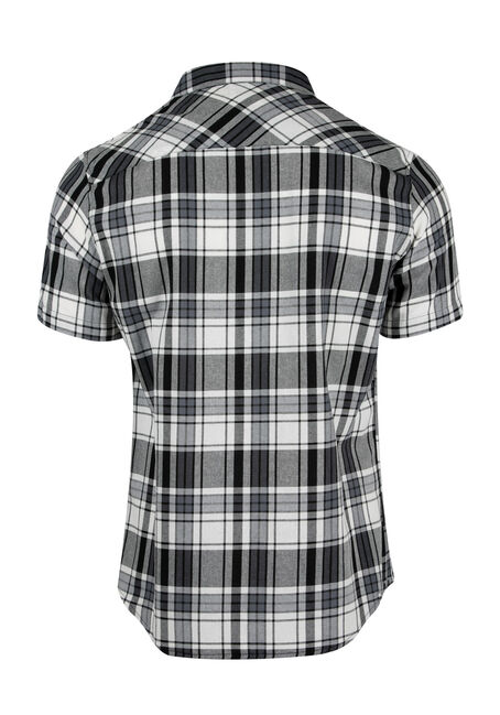 Men's Relaxed Plaid Shirt, BLK/WHT, hi-res