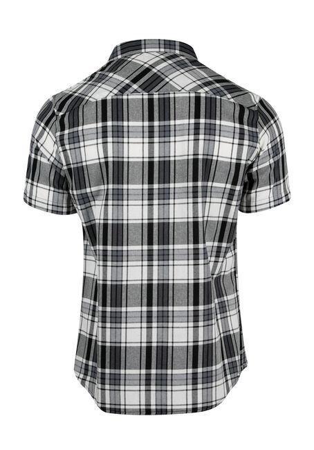 Men's Relaxed Plaid Shirt, BLK/WHT, hi-res
