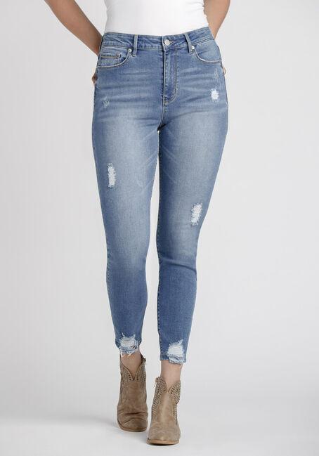 Women's Power Sculpt Chewed Hem High Rise Skinny Jeans