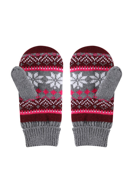 Ladies' Nordic Mitts, BURGUNDY, hi-res