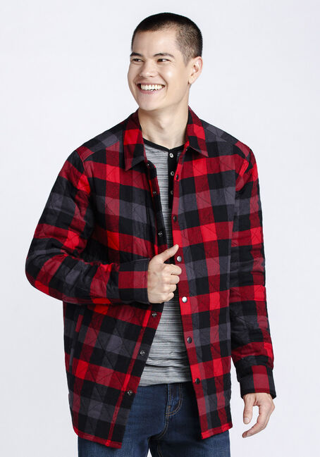 Men's Flannel Work Jacket, RED, hi-res