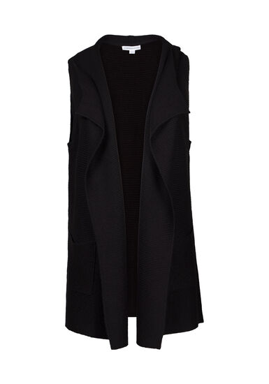 Women's Shawl Collar Vest, BLACK, hi-res