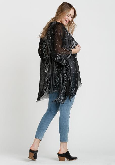 Women's Bandana Print Wrap, BLACK, hi-res