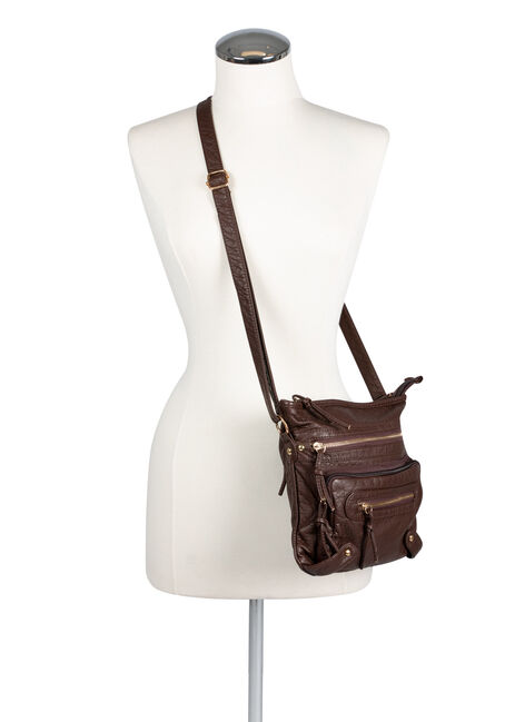 Ladies' Square Cross Body Bag, BROWN, hi-res