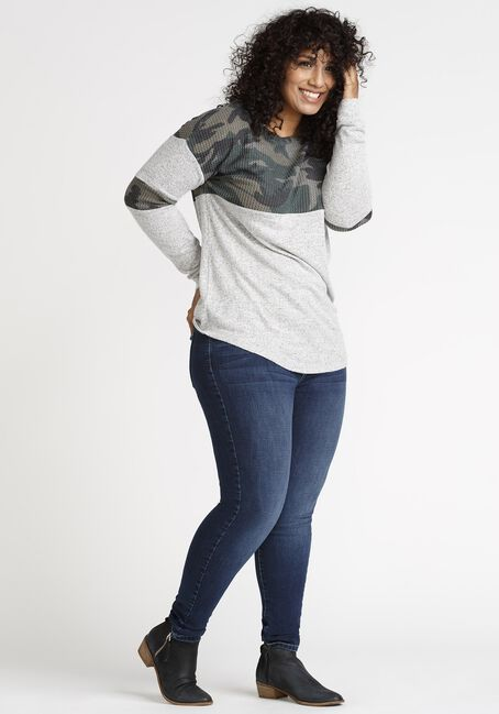Women's Camo Colour Block Top, OLIVE, hi-res